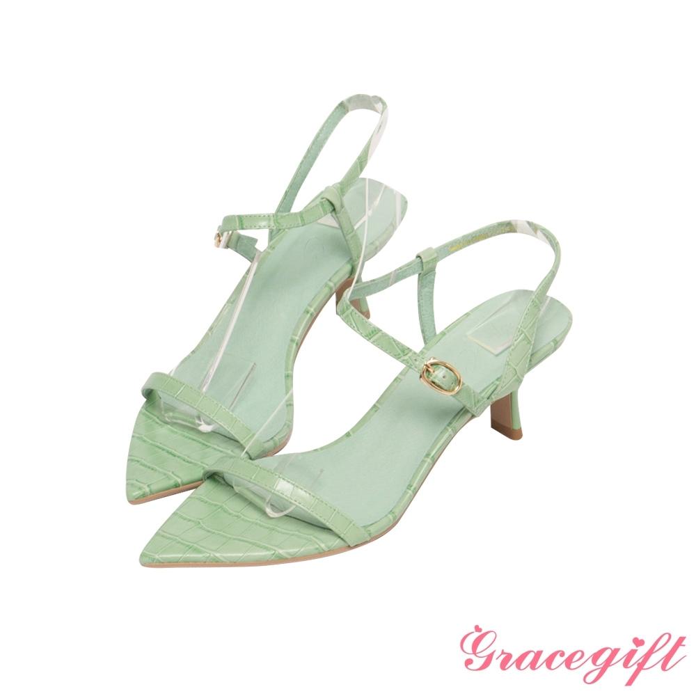 Grace gift X Annie-聯名真皮一字繫踝中跟涼鞋 淺綠