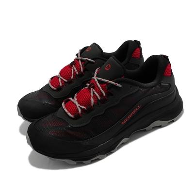 Merrell 戶外鞋 Moab Speed Waterproof 童鞋 魔鬼氈 緩震 能量反饋 耐磨抓地 黑 紅 MK265214
