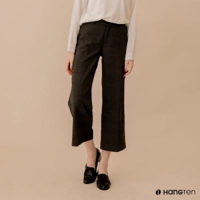 Hang Ten-女裝-WIDE LEG FIT寬口鬆緊格紋高腰長褲-灰色