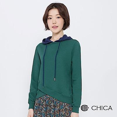 CHICA 青春搖擺交錯拼接連帽衛衣(3色)