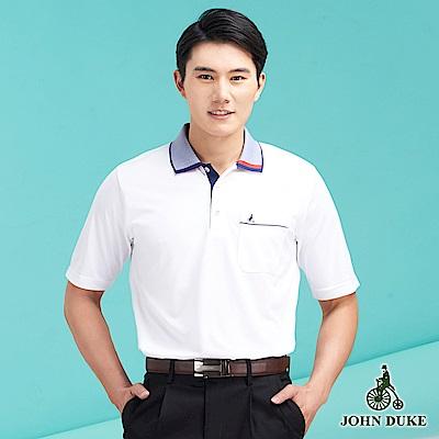 JOHN DUKE休閒涼感男口袋POLO_白(99-8V5118) @ Y!購物