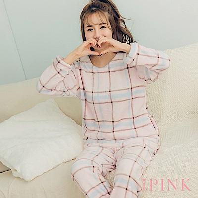 i PINK 冬日樂園 法蘭絨圓領居家服睡衣套裝(粉格紋)