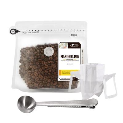 CoFeel 凱飛鮮烘豆黃金曼特寧中深烘焙咖啡豆半磅+不鏽鋼咖啡匙夾子+濾掛咖啡袋10入