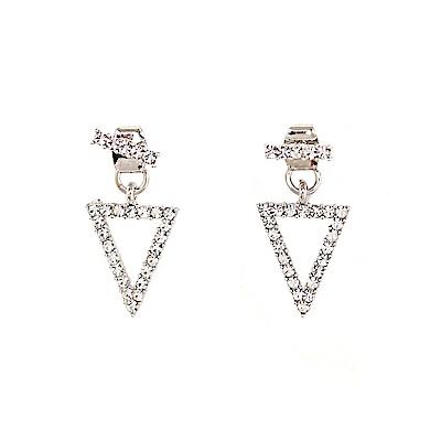 LOVER S TEMPO加拿大品牌 三角造型鑲嵌水晶 銀色耳環