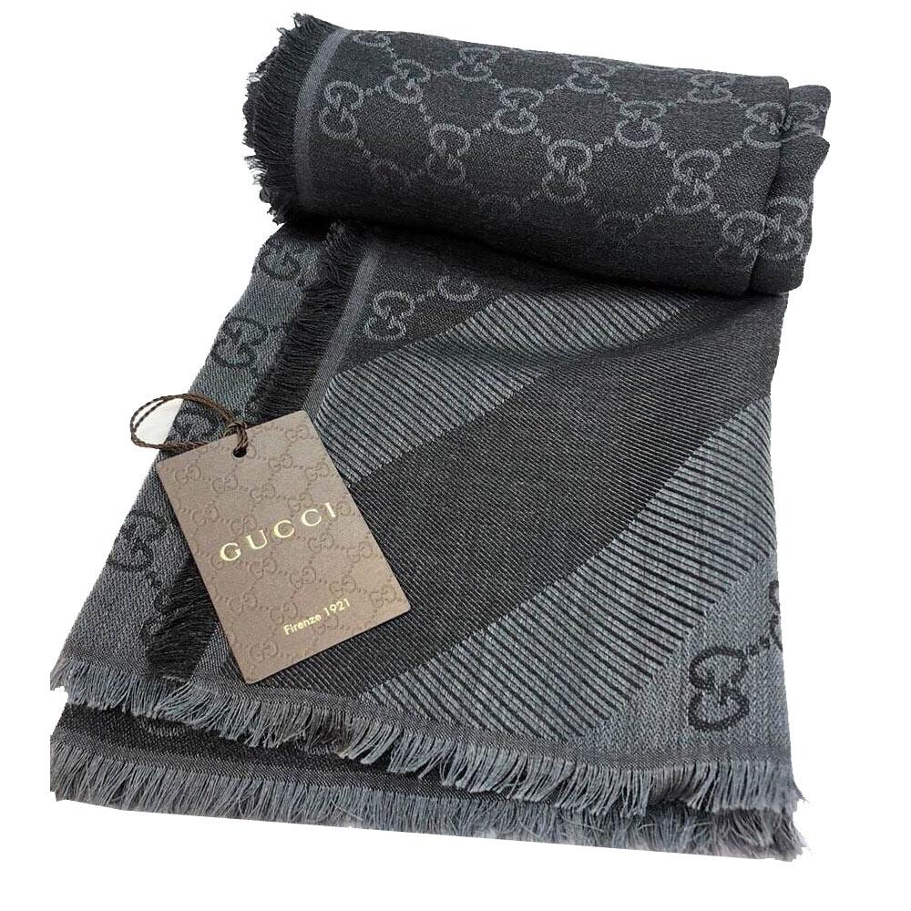 GUCCI G LOGO雙色條紋羊毛混紡方形圍巾披肩(大)