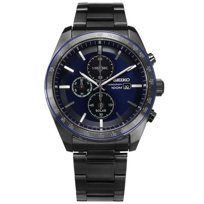 SEIKO 太陽能藍寶石水晶防水100米不鏽鋼手錶-藍x鍍深灰/43mm