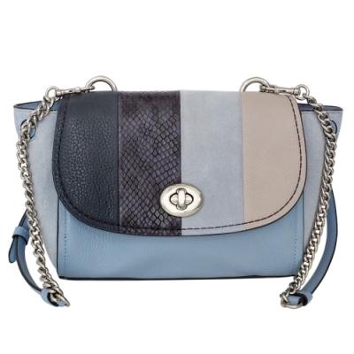 COACH水藍異材質全皮拼貼旋釦翻蓋斜背小包