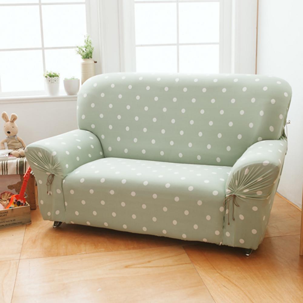【格藍傢飾】雪花甜心彈性沙發套 沙發罩3人座-抹茶綠(彈性 防滑 全包 )