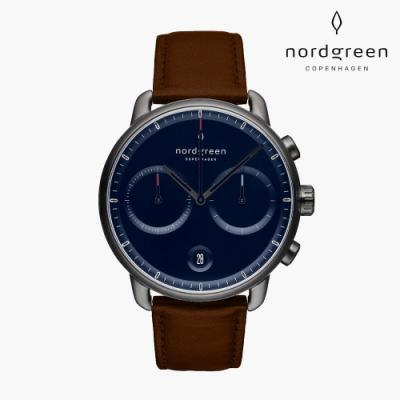 Nordgreen Pioneer 先鋒 深空灰系列 深棕真皮錶帶手錶 42mm