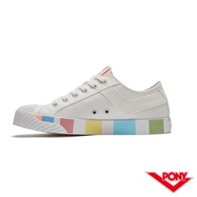 【PONY】Shooter系列 潮流設計百搭餅乾鞋 帆布鞋 休閒鞋 女鞋 白色