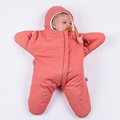 【小海星標準版-珊瑚橘 】鯊魚咬一口BabyBites純棉嬰幼兒睡袋
