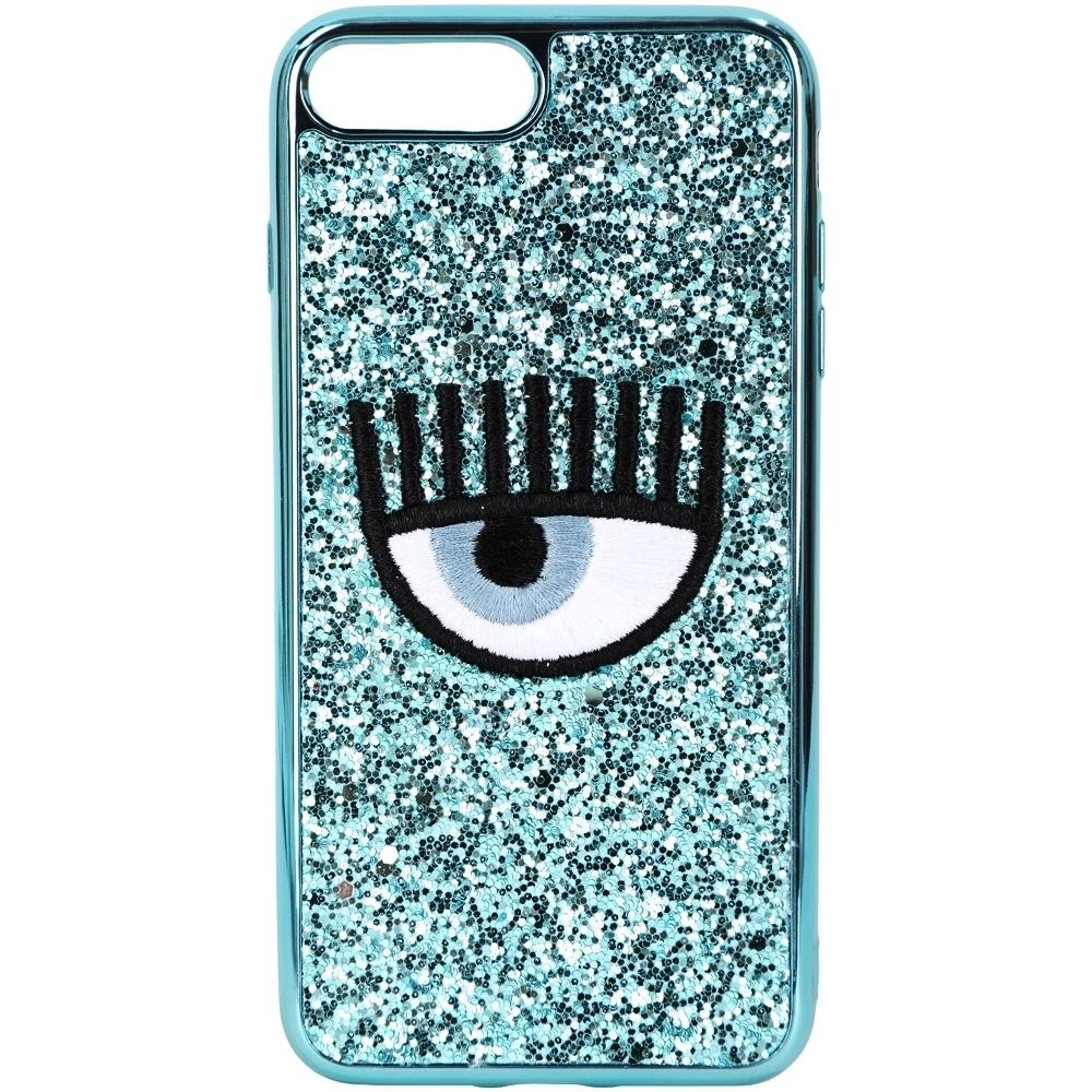 Chiara Ferragni i7/8 PLUS 刺繡眼睛天空藍亮片手機殼(5.5吋)