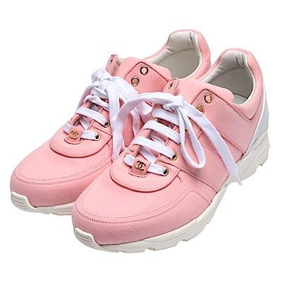 CHANEL 經典金色雙C LOGO帆布運動鞋(粉紅)