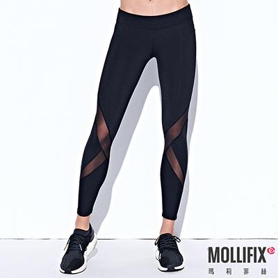 Mollifix 瑪莉菲絲 線性透膚7分動塑褲 (黑)