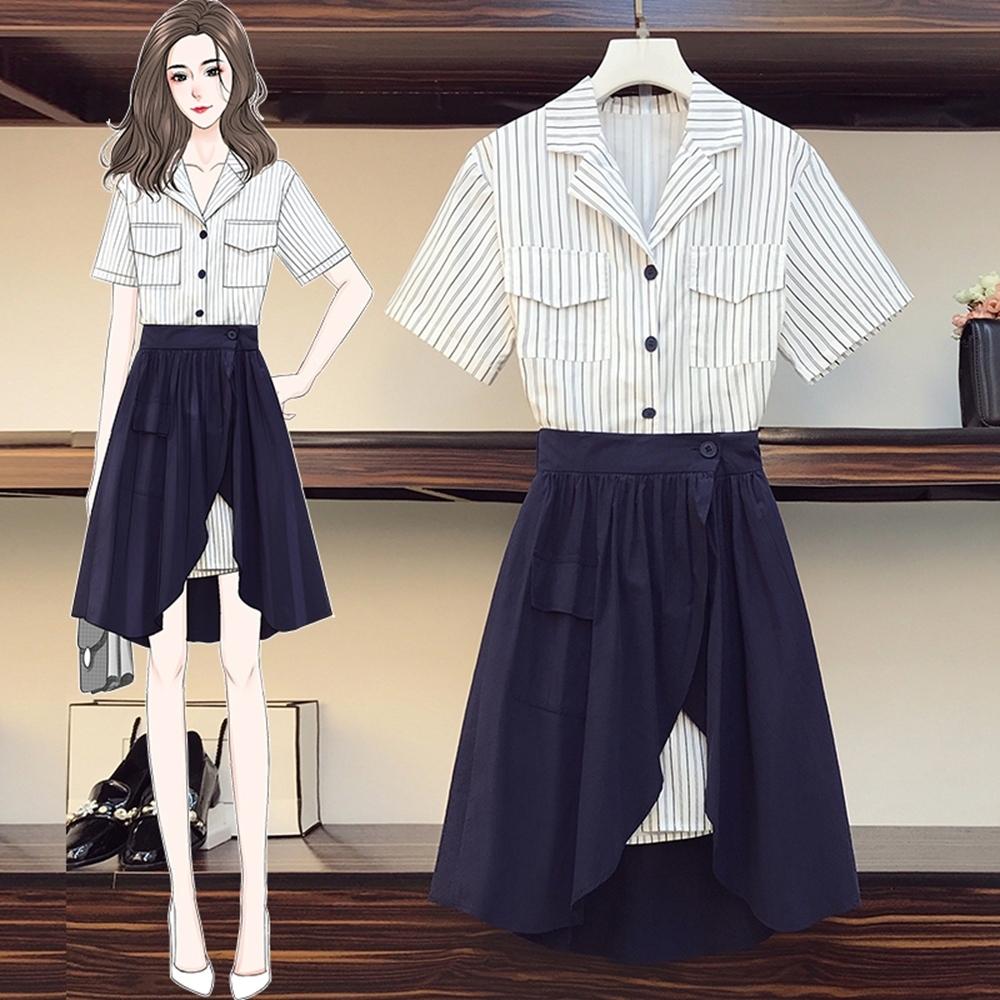 韓國原單條紋中長款襯衫裙套裝L-4XL(共二色)-KVOLL