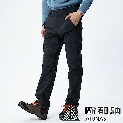 【ATUNAS 歐都納】男款防風SoftShell刷毛保暖長褲A-PA1732M黑