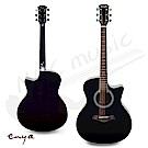 ENYA 40吋 缺角雲杉面板 側背胡桃木 民謠吉他(EAG-40B)黑色 加贈超值五寶