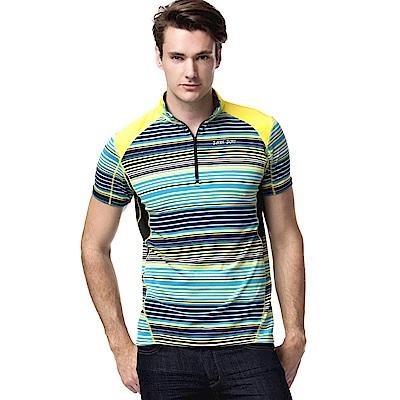 聖手牌 立領衫 七彩橫紋運動休閒短袖立領衫