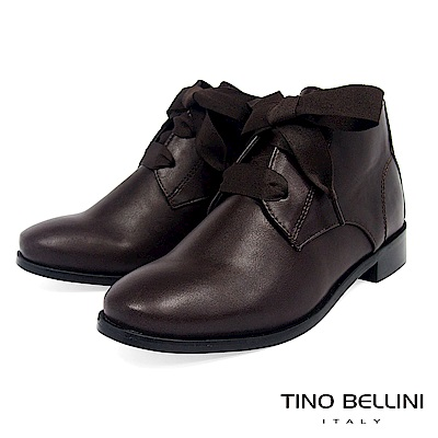 Tino Bellini 原色時尚拼接緞帶綁帶短靴 _ 咖