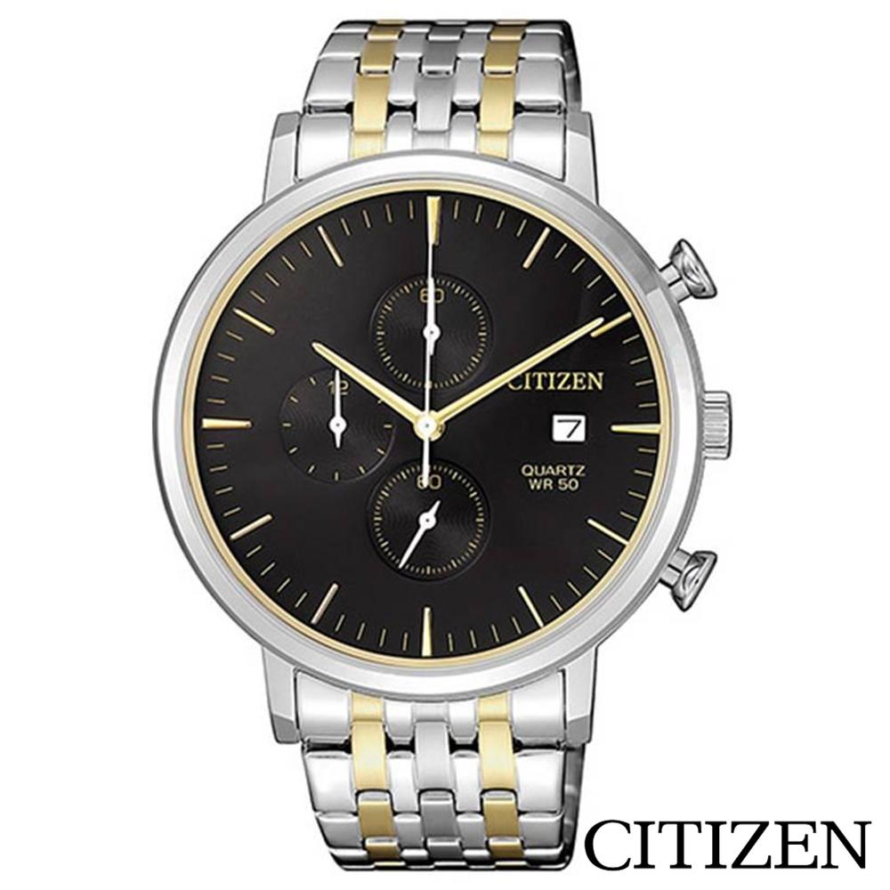 CITIZEN星辰 黑色錶盤男士手錶-AN3614-54E