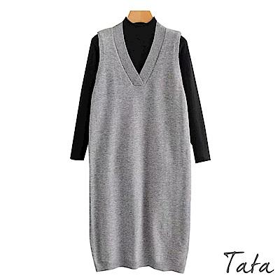 兩件式上衣針織V領背心洋裝 共二色 TATA