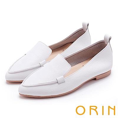ORIN 優雅品味 柔軟牛皮素面尖頭樂福鞋-白色