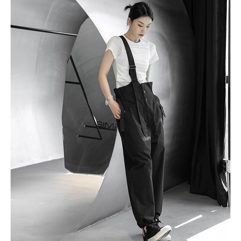 設計所在Style-韓版單邊斜跨可調節直筒背帶褲