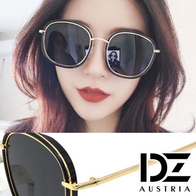 DZ 明星層次線框 抗UV 防曬偏光 太陽眼鏡墨鏡(黑框灰片)