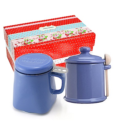 ZERO JAPAN 陶瓷儲物罐+泡茶馬克杯超值禮盒組(藍莓)