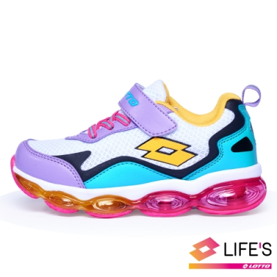 LOTTO 義大利 童 放膽玩色 FLOAT氣墊跑鞋(白紫綠)