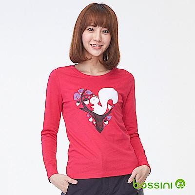 bossini女裝-印花長袖T恤09亮桃紅