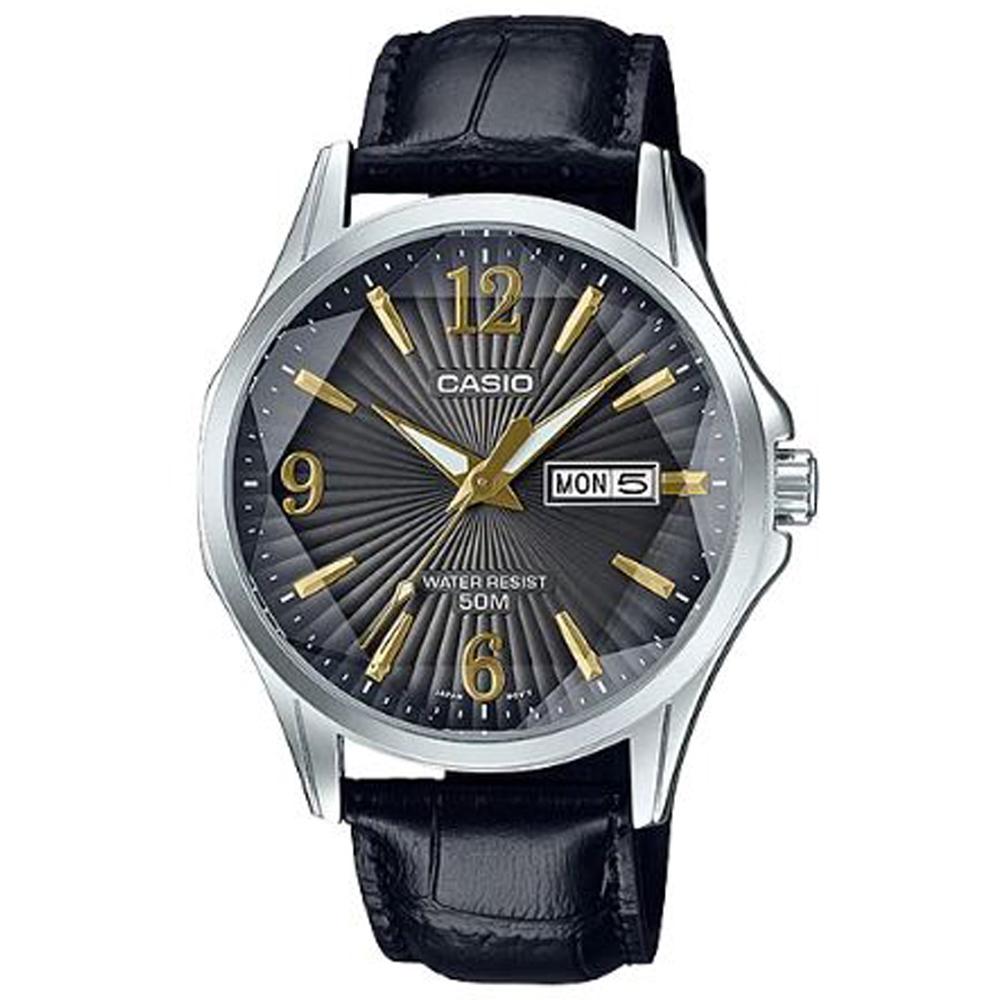 CASIO立體多面切割簡約風格皮帶錶-黑(MTP-E120LY-1A)/47.5mm @ Y!購物