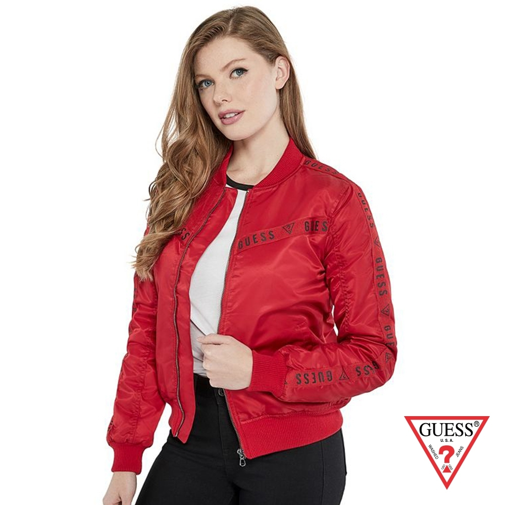 GUESS-女裝-經典LOGO側邊線條飛行外套-紅 原價3990