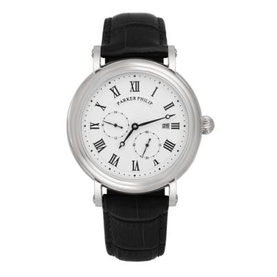 PARKER PHILIP派克菲利浦古典限量自動上鍊機械錶(銀殻/白面/黑帶)