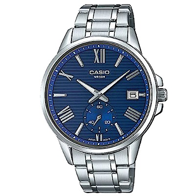 CASIO 羅馬簡約時尚橫條紋設計不鏽鋼腕錶(MTP-EX100D-2)藍面/43.8mm