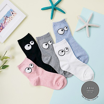 阿華有事嗎 韓國襪子 逗趣大小眼中筒襪 韓妞必備長襪 正韓百搭純棉襪