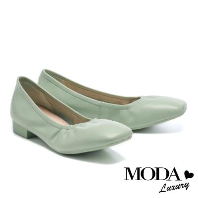 低跟鞋 MODA Luxury 極簡百搭全真皮方圓頭粗低跟鞋-綠