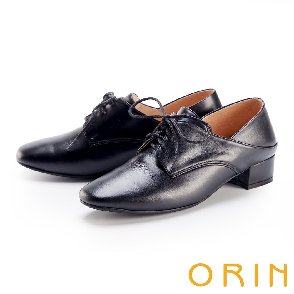 ORIN 綁帶真皮粗低跟 女 德比鞋 黑色