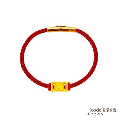 J code真愛密碼金飾 虎/豬(雙面)貴人相助六合生肖硬金/玫鋼編織手鍊