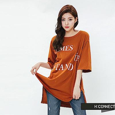 H:CONNECT 韓國品牌 女裝-圓弧下擺印字T-shirt-棕