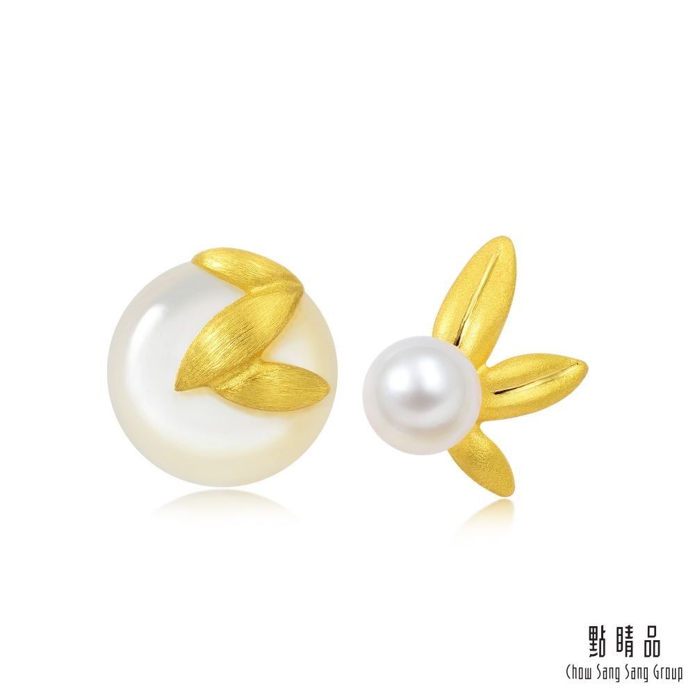 點睛品 吉祥系列 楊枝甘露 珍珠黃金耳環