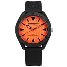 Superdry 極度乾燥 潮流品牌 獨特撞色 日本機芯 舒適矽膠手錶-橘x黑/42mm