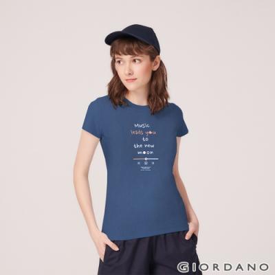 GIORDANO 女裝MUSIC系列印花短袖T恤-32 深寶藍