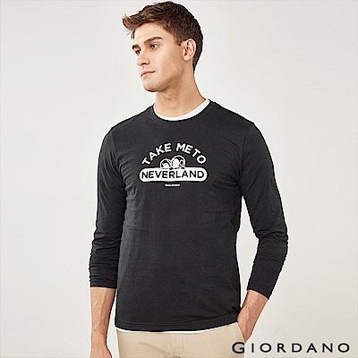 GIORDANO 男裝圓領英文標語長袖印花T恤-17 標誌黑
