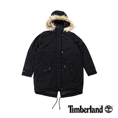 Timberland 女款黑色防水可拆卸毛皮派克大衣|B2121