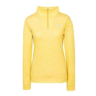 FILA 女款內刷半開襟T恤-黃綠 5TES-5108-LN