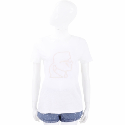 Karl Lagerfeld Lightning 白色老佛爺米色側臉肖像短袖T恤