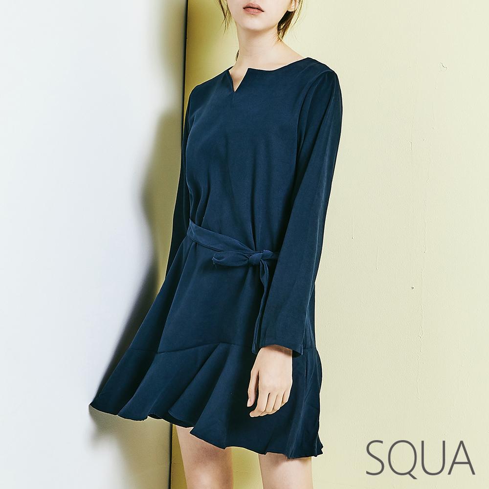 SQUA 小V領荷葉洋裝(附綁帶)-二色