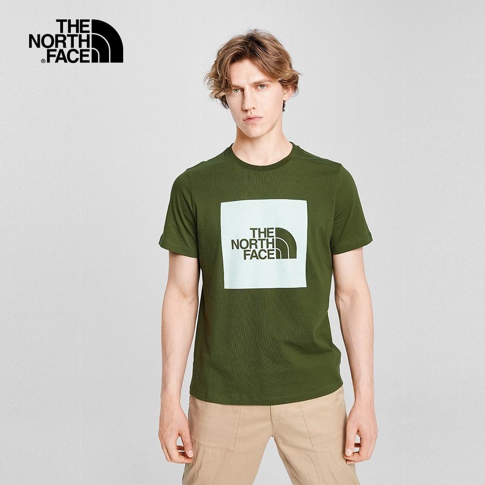 The North Face北面男女款軍綠色大LOGO圓領短袖T恤|5B3E37X