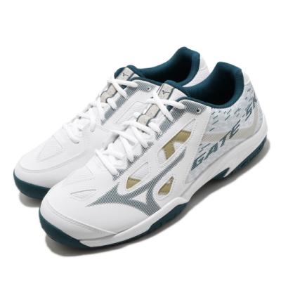 Mizuno 排羽球鞋 Gate Sky plus 寬楦 男女鞋 基本款 包覆 支撐 透氣 舒適 情侶款 白 綠 71GA204033